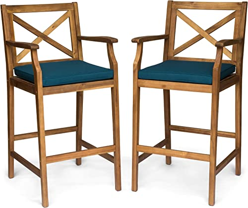 Christopher Knight Home 305816 Logan Outdoor Acacia Wood Barstool, Teak Finish Blue