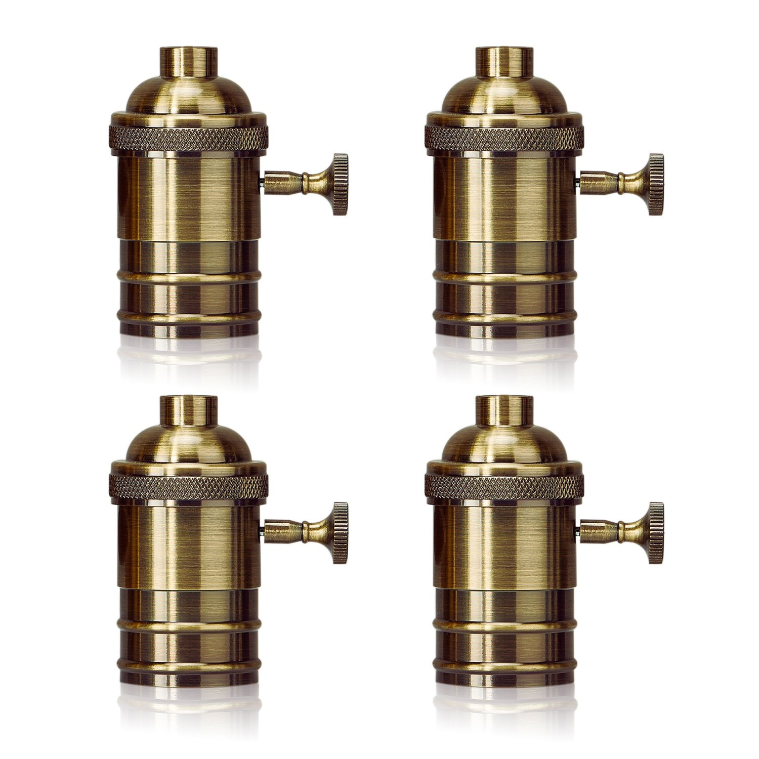Homestia E26/E27 Medium Light Socket Copper Shell Edison Retro Pendant Lamp Holder Retro Style Fixture Replacement with Turn Knob 4 Pack, Bronze
