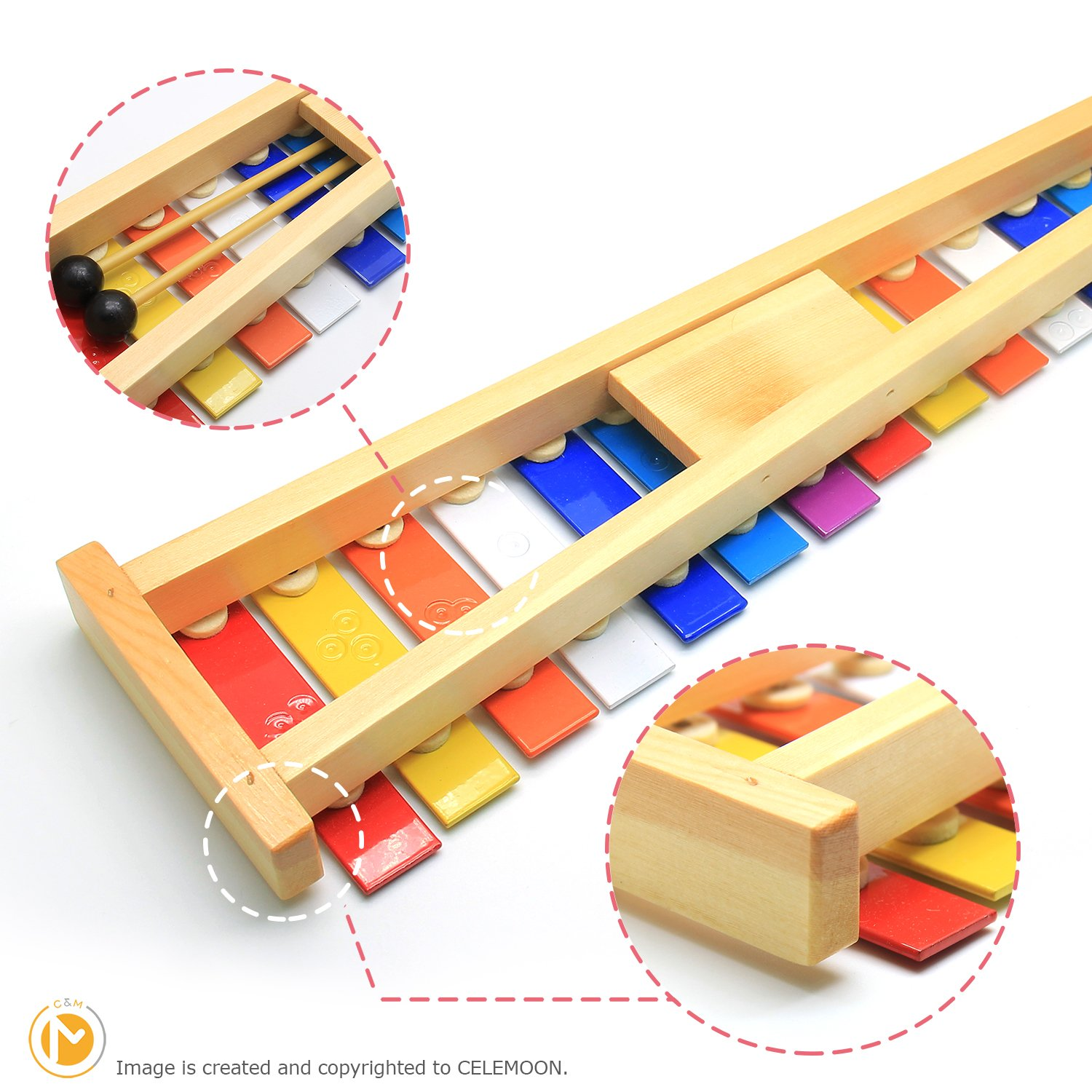 CELEMOON Natural Wooden Toddler Xylophone Glockenspiel For Kids with Multi-Colored Metal Bars Included Two Sets of Child-Safe Wooden Mallets (15-tone) by CELEMOON (Image #3)