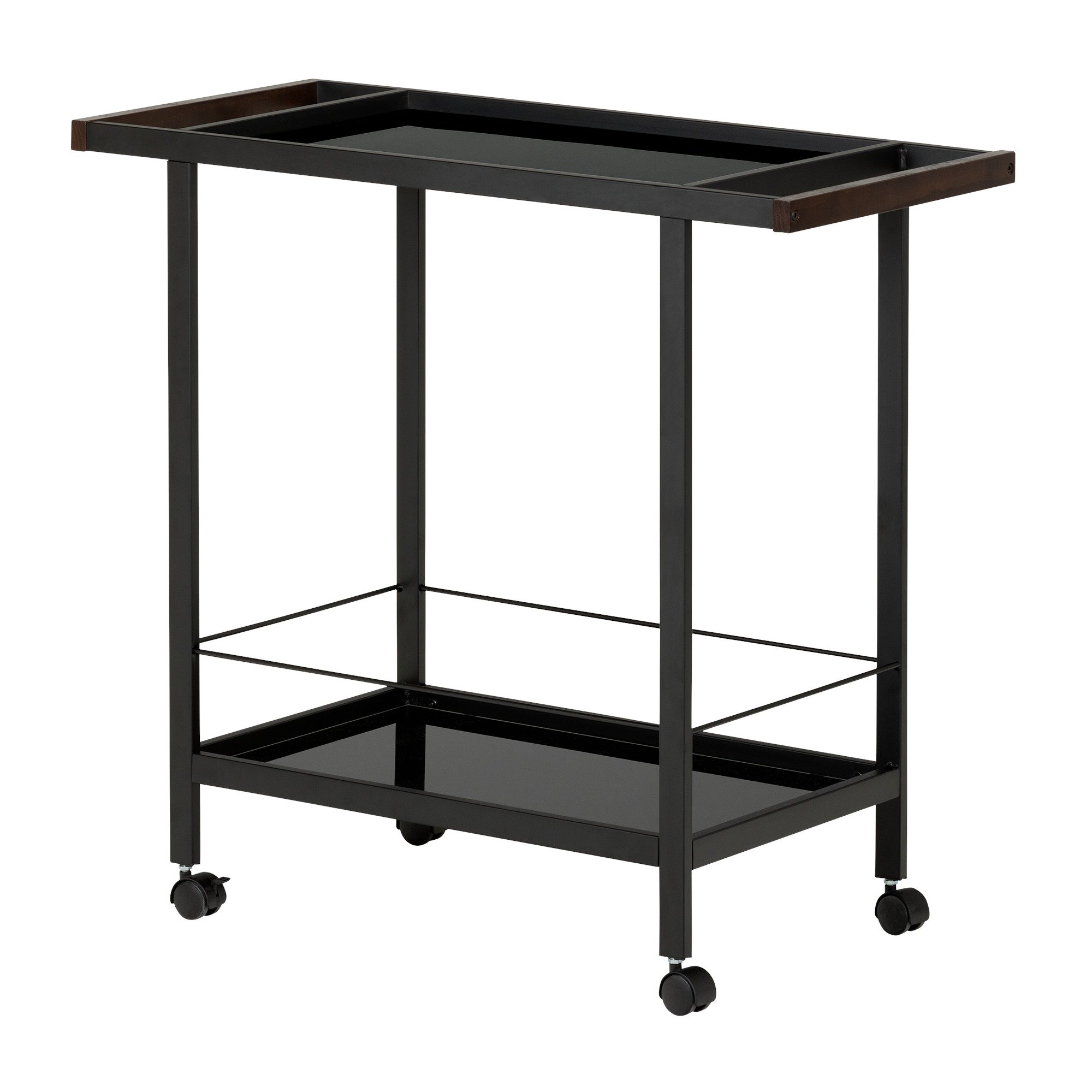 South Shore Metal Bar Cart on Wheels with Glass Shelves, Black Tempered Glass by South Shore