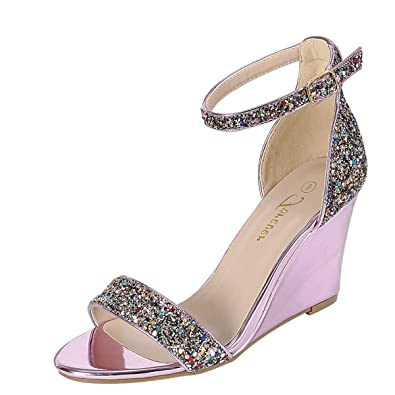 824f561991578 Amazon.com | Forever Womens Open Toe Metallic Glitter Ankle Strap Med High  Wedge Heel Sandal Shoe Pump | Heeled Sandals