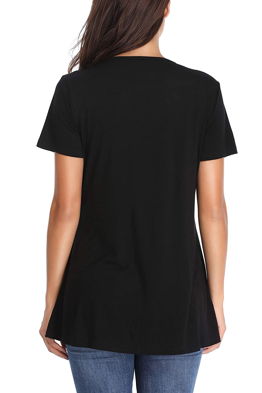 Giorzio Damen Umstandsmode Umstandsshirt Stillshirt Schwangerschaft Kleidung Streifen Kurzarm T-Shirt f/ür Schwangere Mama Umstandstop Lagendesign Wickeln-Schicht Nursing Tops
