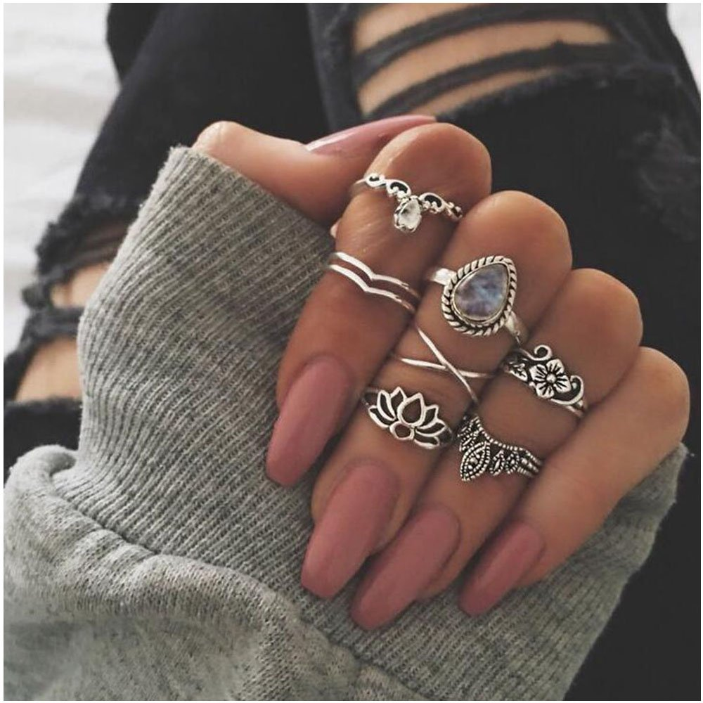 Lotus Crown Waterdrop Silver Ring for Women Retro 7 Pcs Metals Knuckle Rings Set MISSU JEWELLRY