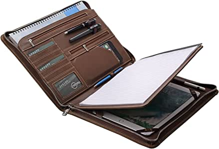 Vintage Crazy-Horse Portfolio Organizer Padfolio Compact Case for Galaxy Tab S4 /Tab S5e /Tab S6 10.5, Letter (A4) Paper