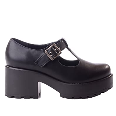 2bb9db21765 Miss Image UK New Ladies Womens Chunky MID Block Heel Platform T BAR Cut Out  Buckle Shoes Size  Amazon.co.uk  Shoes   Bags