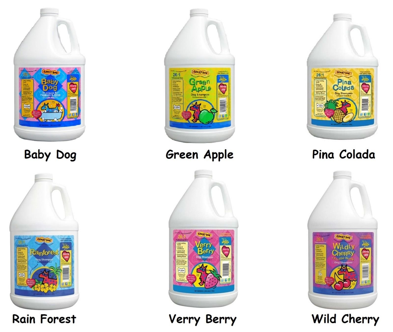 Concentrated Scented Pet Shampoo for Dog Grooming One Gallon - Choose Scent (Rain Forest)