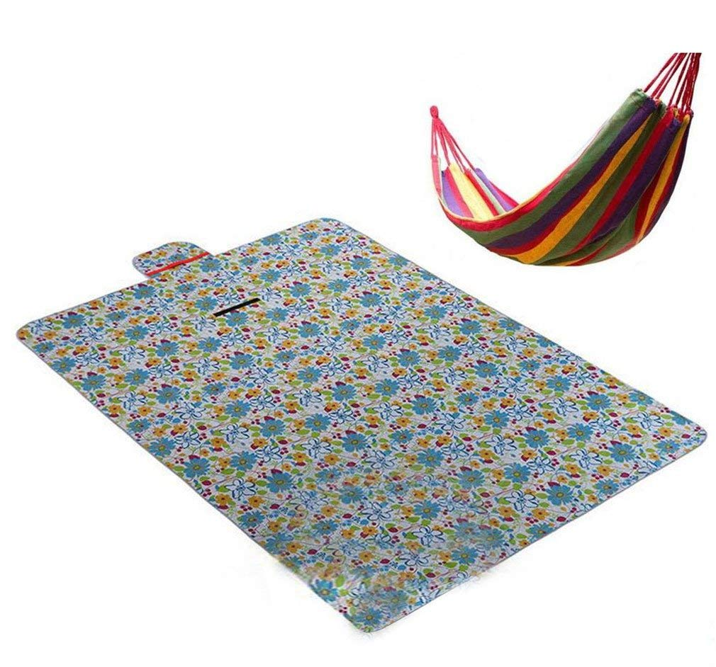 ピクニック毛布 ピクニック毛布屋外カーペットマット200 * 150センチ大防水折りたたみキャンプトート+キャンバスハンモック、ブルー  青 B07RYLFV7Z