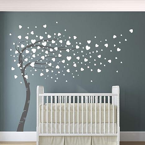 Designdivil Wall Decals Corazones y árbol Vinilo Adhesivo de Pared para habitación Infantil, decoración del