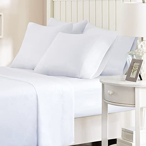 Cloth Fusion Pima Solid Fitted 300TC Cotton Bed Sheet with 2 Pillow Covers- King, White