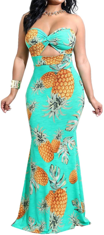 1d9b35e84e2 Sexy Sleeveless Strapless Sweatheart Neckline Twisted Twist Cut Out Hollow  Out Front Highwaist Empire Waist Long Maxi Pineapple Printed Pattern  Ruffled ...