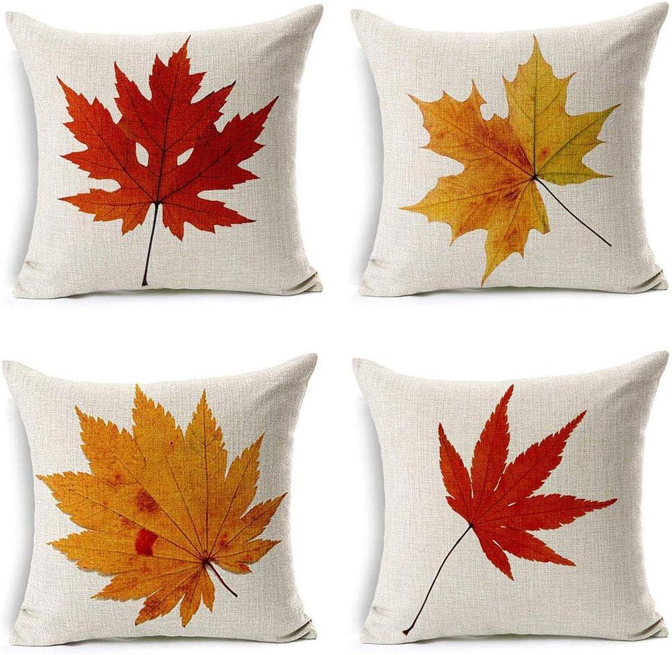 "18/"" Golden Maple Leaves Cotton Linen Throw Pillow Case Cushion Cover Home Decor"
