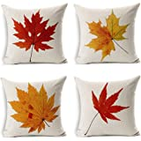 LEIOH Fall Decor Cotton Linen Leaves,Maple Leaf Autumn Decorations Cushion Covers 18 x 18 Inch Sofa Home Decor Throw Pillow C