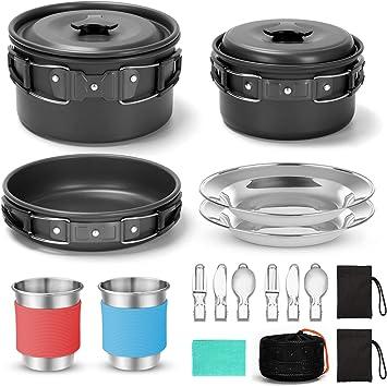 Odoland Juego de utensilios de cocina de camping con estufa plegable de camping, ollas ligeras antiadherentes con tazas de acero inoxidable, platos, ...