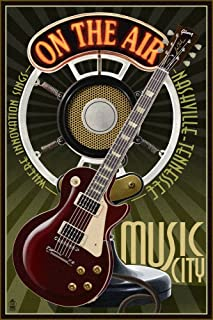 product image for Nashville, Tennesseee - Guitar and Microphone (36x54 Giclee Gallery Print, Wall Decor Travel Poster)