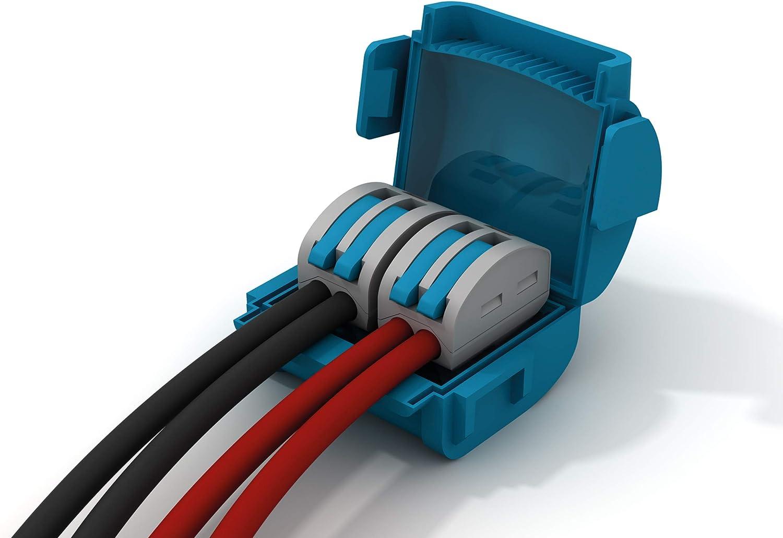 IPX8 protection contre leau connecteur inclus 2 voies section 0,2 petits c/âbles 2 p/ôles 4 mm Etelec MJB222 Bo/îtier de connexion isolant en gel