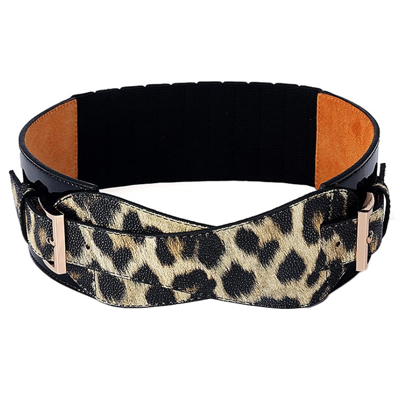 Deercon Women PU leather Leopard Wide Waist Belt Girdle Cummerbund Waistband