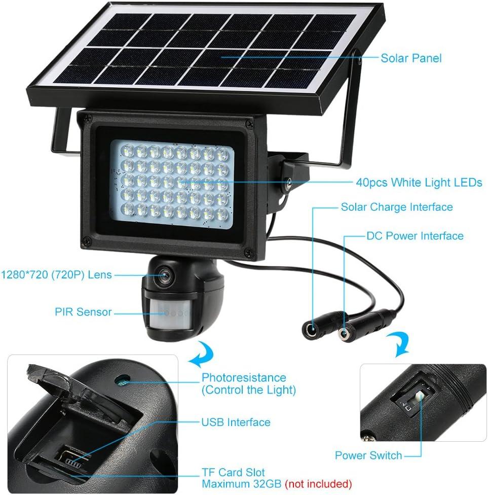 NEW Solar 40 LED IR 720P Lamp DVR Security CCTV Camera PIR Motion Detection