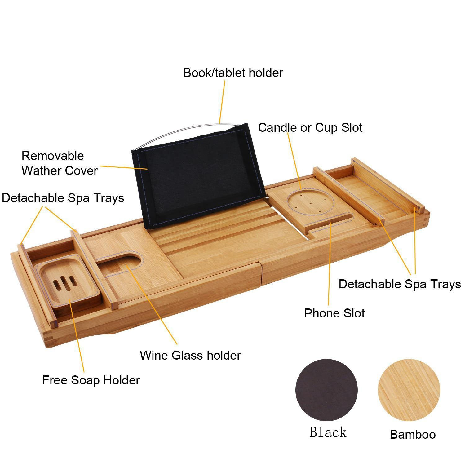 Bamboo Bathtub Caddy Tray with Wine Book Holder, Bathtub Tray with ...