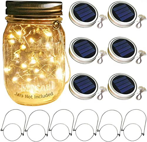 Solar Mason Jar Lid Lights, 6 Pack 30 Led String Fairy Star Firefly Jar Lids Lights,6 Hangers Included Jars Not Included , Best for Mason Jar Decor,Patio Garden Decor Solar Laterns Table Lights