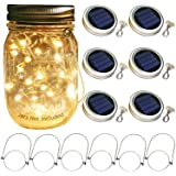 Solar Mason Jar Lid Lights, 6 Pack 30 Led String Fairy Star Firefly Jar Lids Lights,6 Hangers Included(Jars Not Included), Be