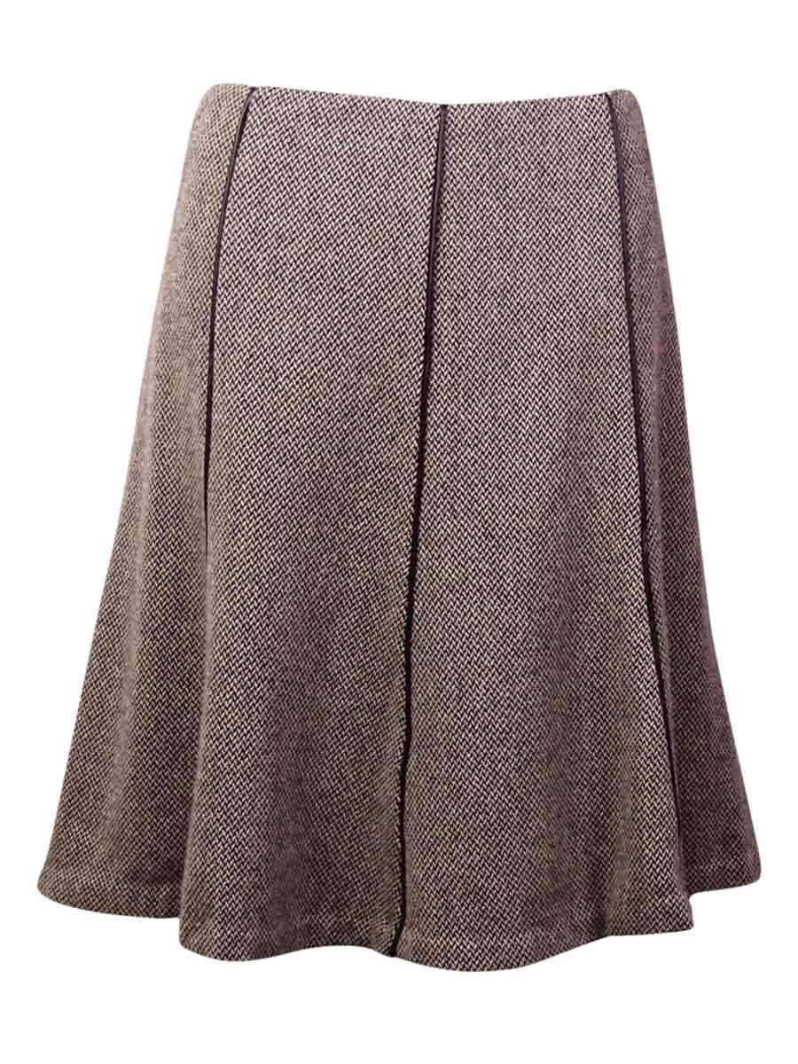 Lauren by Ralph Lauren Women's Pleather Trim Tweed Skirt (8, Black/Cream)
