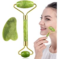 Update 2021 Natural Face Jade Roller and Gua Sha Scraping Massager Set, YanYoung Jade roller Therapy Face Massager for…