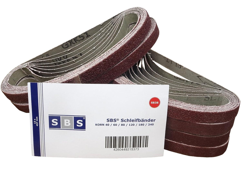 48 Stü ck SBS Schleifbä nder 13 x 457 mm Mix Pack - 8 St. je Korn 40/60/80/120/180/240