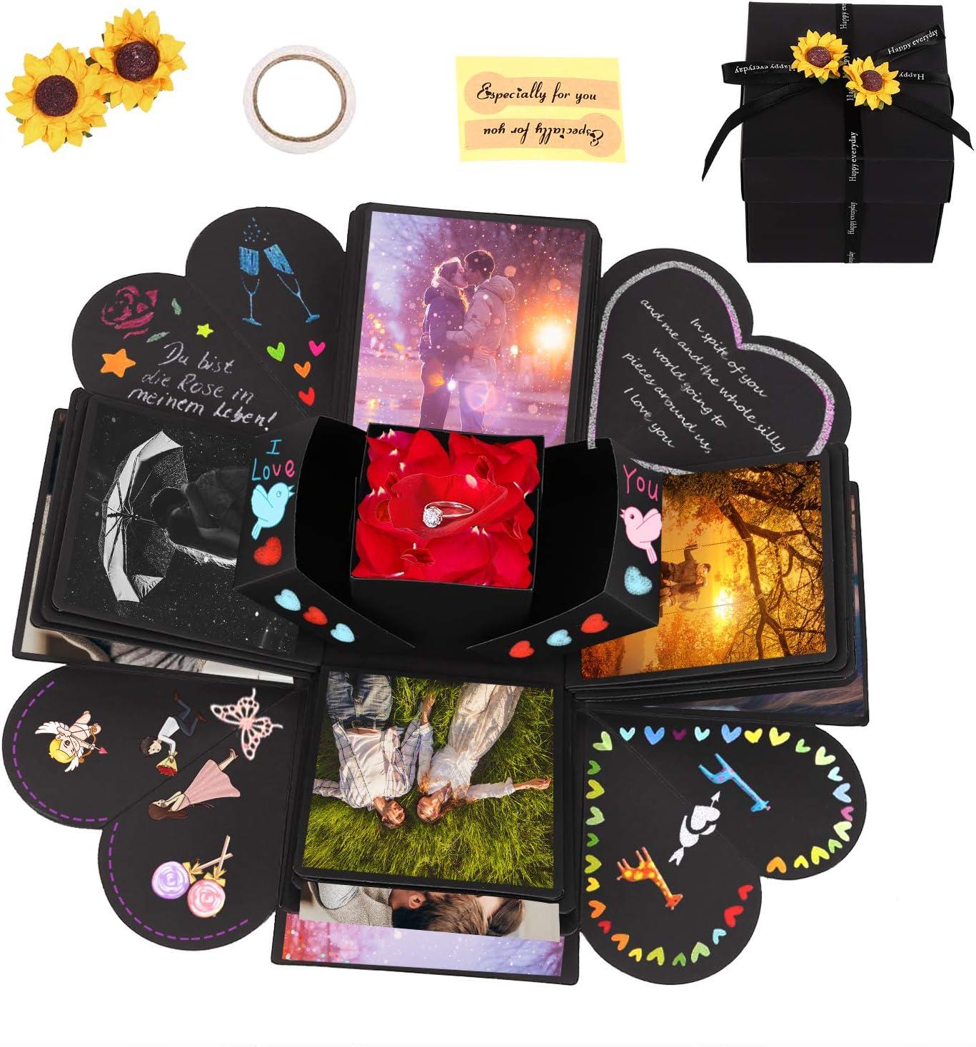 Caja de Regalo Creative Explosion Box, Zorara Explosion Box DIY Álbum de Fotos Hecho a Mano, Álbum de Fotos de Scrapbooking Caja de Regalo para Cumpleaños Boda San Valentín Aniversario