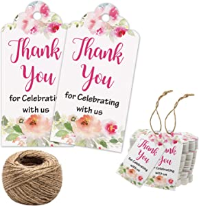 Floral Thank You for Celebrating with Us Tags 100Pcs White Thank You Tags for Wedding Favor Baby Shower Party Favors, Paper Gift Tags with 100 Feet Jute String
