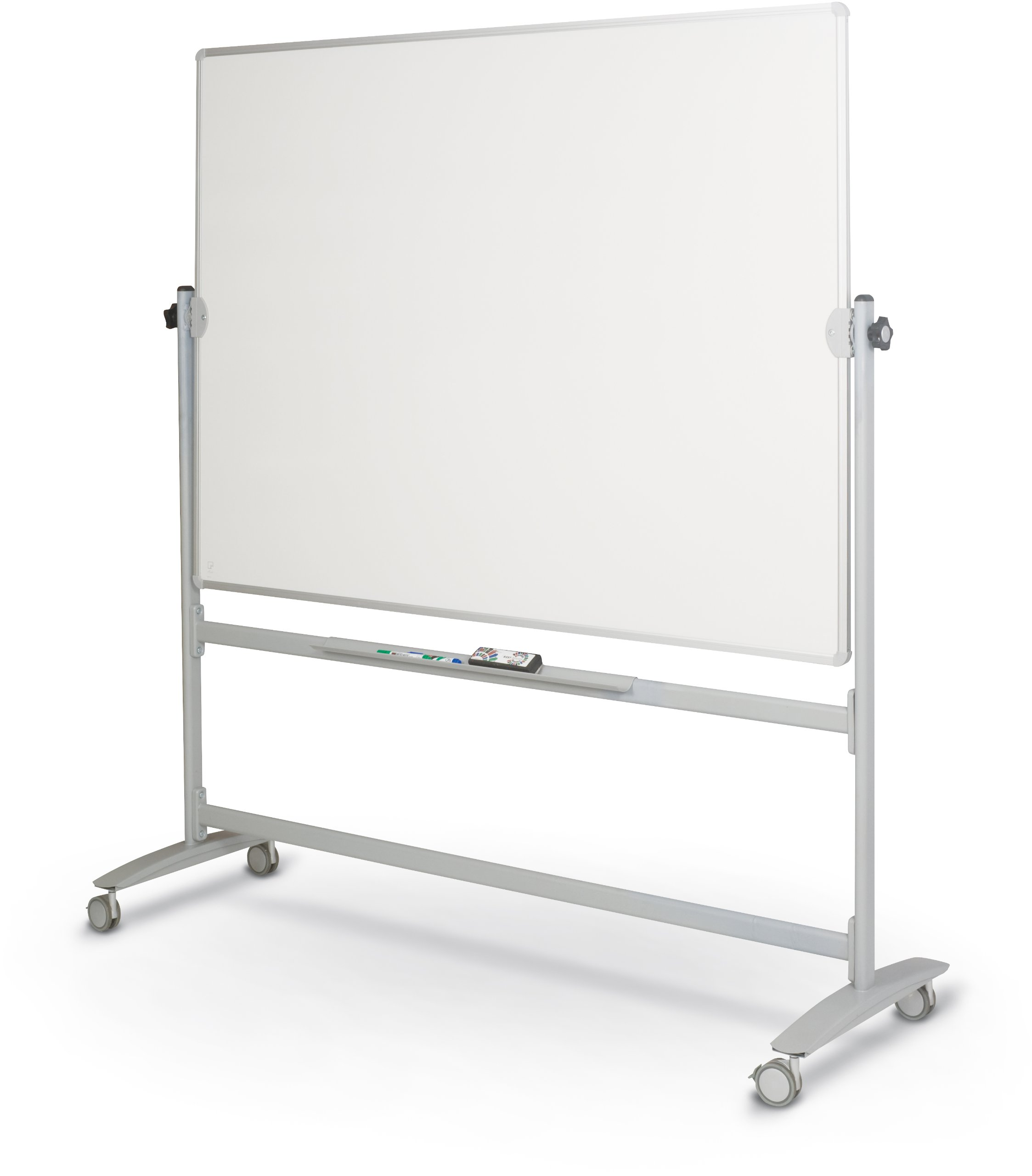 Best-Rite Lumina Rversible Mobile Dry Erase Whiteboard Easel, 4'H x 5'W Dura-Rite HPL Markerboard, Silver Frame (62383)