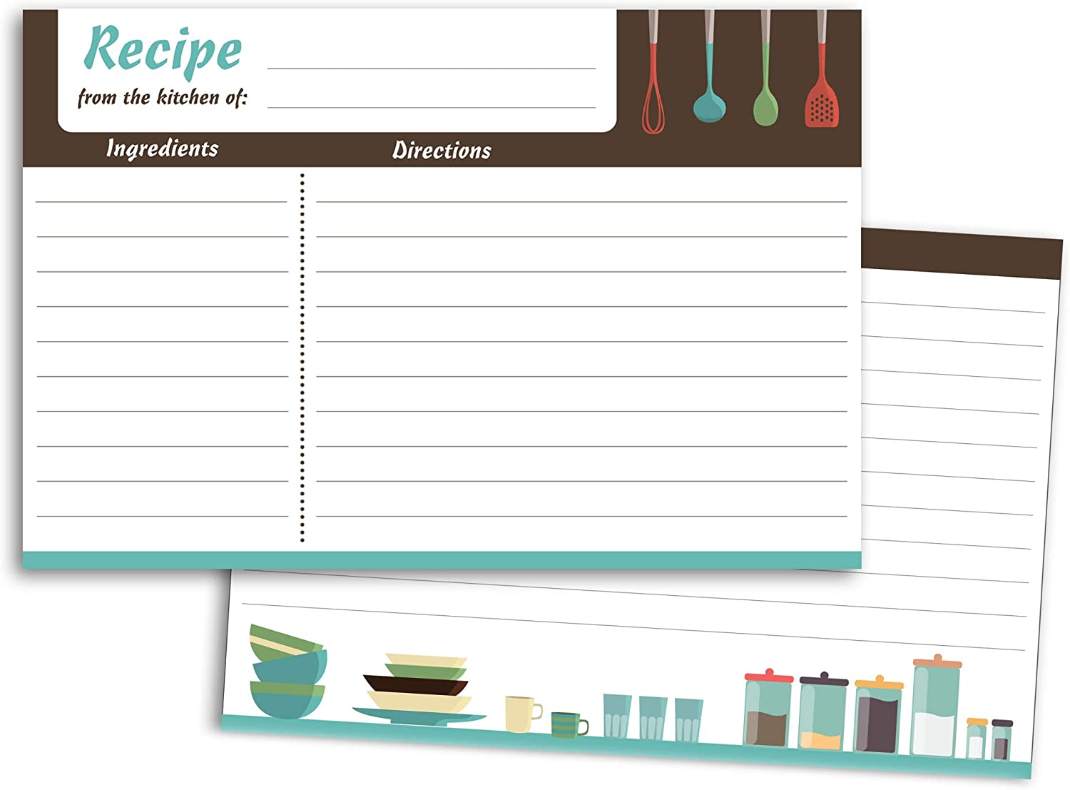 Home Advantage 50 Modern Kitchen Recipe Cards, 4x6 Double Sided Cards