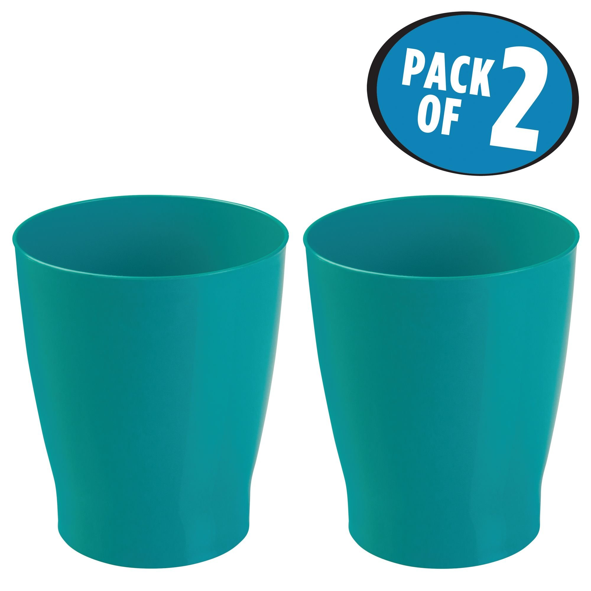 mDesign Slim Round Plastic Small Trash Can Wastebasket, Garbage Container Bin for Bathrooms, Powder Rooms, Kitchens, Home Offices, Kids Rooms - Pack of 2, Teal