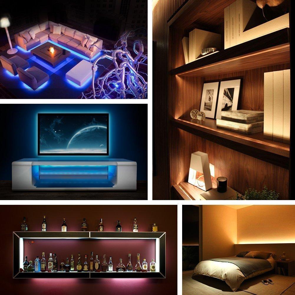 USB LED Lighting Strip for HDTV - Medium (78in / 2m) - Multi-Color RGB - USB LED Backlight Strip with Dimmer for Bias Lighting HDTV, Flat Screen TV LCD, Desktop Monitors, Kitchen Cabinets… Kitchen Cabinets… SPE 2M-RGB