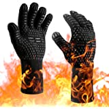 Protective Grilling Mitts XL Size Oven Gloves 932°F Heat Resistant BBQ Gloves Oven Mitts-Cut Resistant Cooking Gloves, Non-Sl