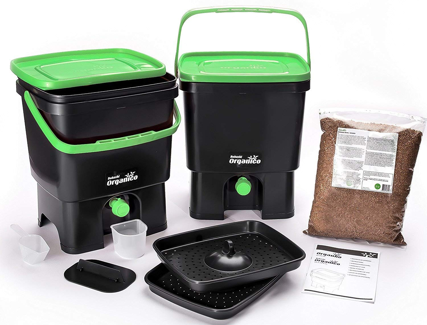 Skaza - mind your eco - Compostador para Cocina, Color Negro y Verde