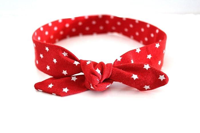 b2e6c70dbf93 Bandeau bébé à nouer étoiles rouge et blanc  Amazon.fr  Handmade