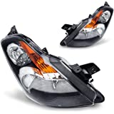 Headlights Assembly OE Style Replacement Direct for Nissan Altima 2007-2009 headlamp,Black Housing Amber Reflector Clear lens,2 Year Warranty