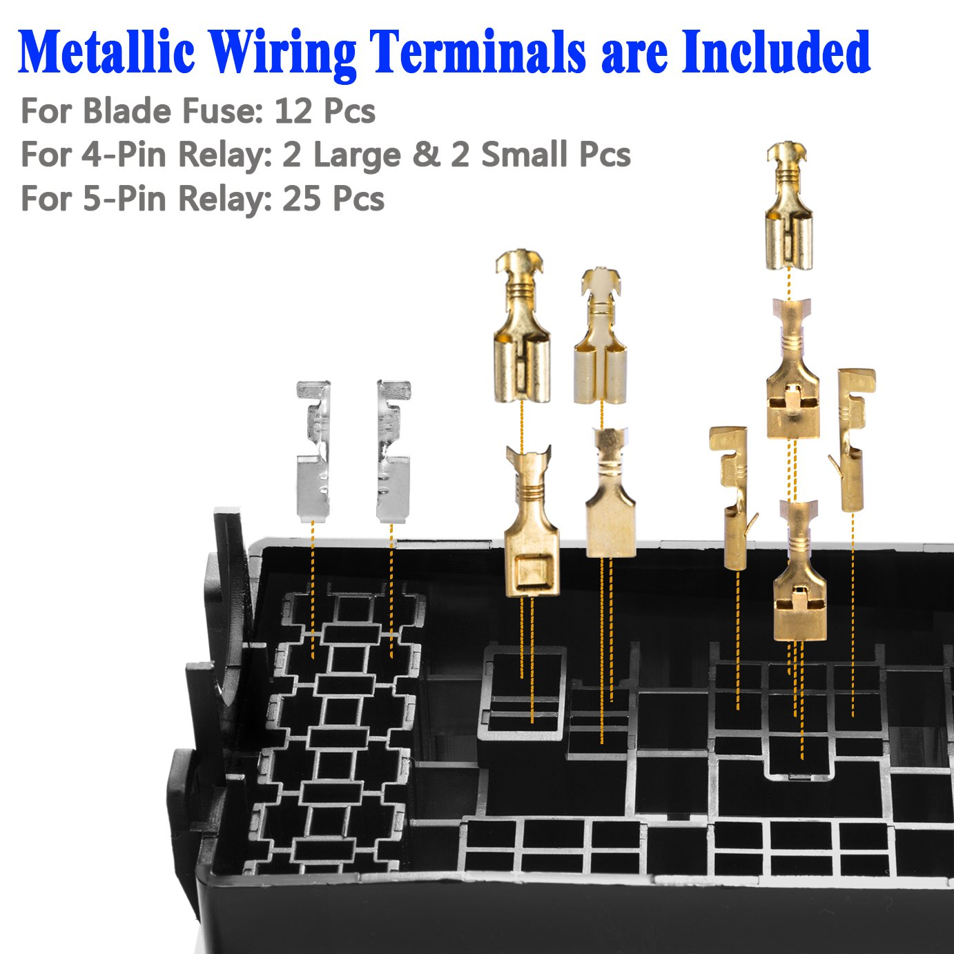 Dedc 12 Slot Relay Box 12v Holder With 41pcs Metallic Fuse Terminals Wiring For Automotive And Marine Use Holding Bosch Style 40 30a 5 Pin Relays