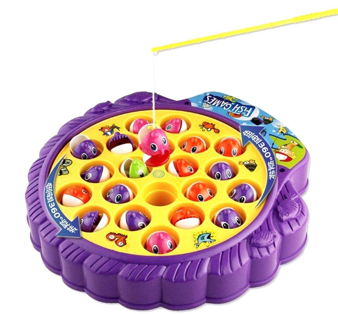 Haktoys Fishing Game Toy Set with Single-Layer Rotating Board | Now with Music On/Off Switch! | Includes 21 Fish and 4 Fishing Poles | Safe and Durable Gift for Toddlers and Kids
