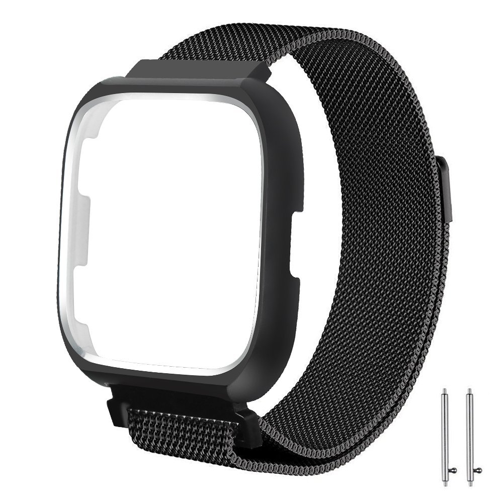 Fun Sponsor Fitbit Versa Strap Bands, Adjustable Smart Watch Strap with Magnetic Closure for Fitbit Versa (Large, With Frame - Black)