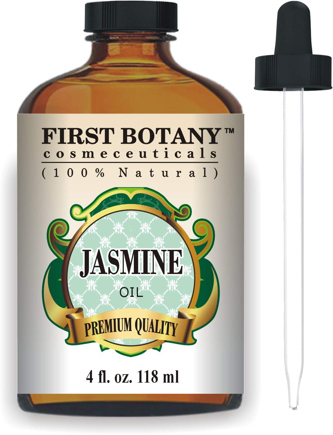 Jasmine Oil 4 fl. oz. with a Glass Dropper - Premium Quality & Therapeutic Grade - Ideal for Aromatherapy & Maintaining Healthy Skin by First Botany Cosmeceuticals
