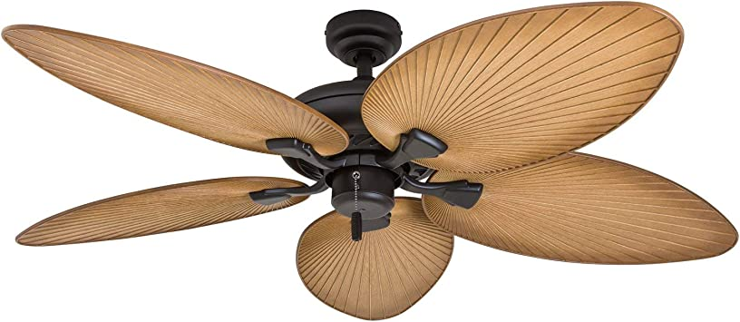Honeywell Palm Island 50505 01 52 Inch Tropical Ceiling Fan Five Palm Leaf Blades Indoor Outdoor Damp Rated Sandstone Amazon Com