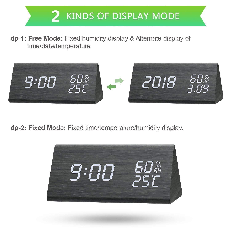 ZHENROG Reloj Digital,Reloj Despertador con 3 Alarmas Programables,Pantalla LED de Fecha, Brillo de 3 Niveles, Temperatura y Humedad Reloj de Grano de ...