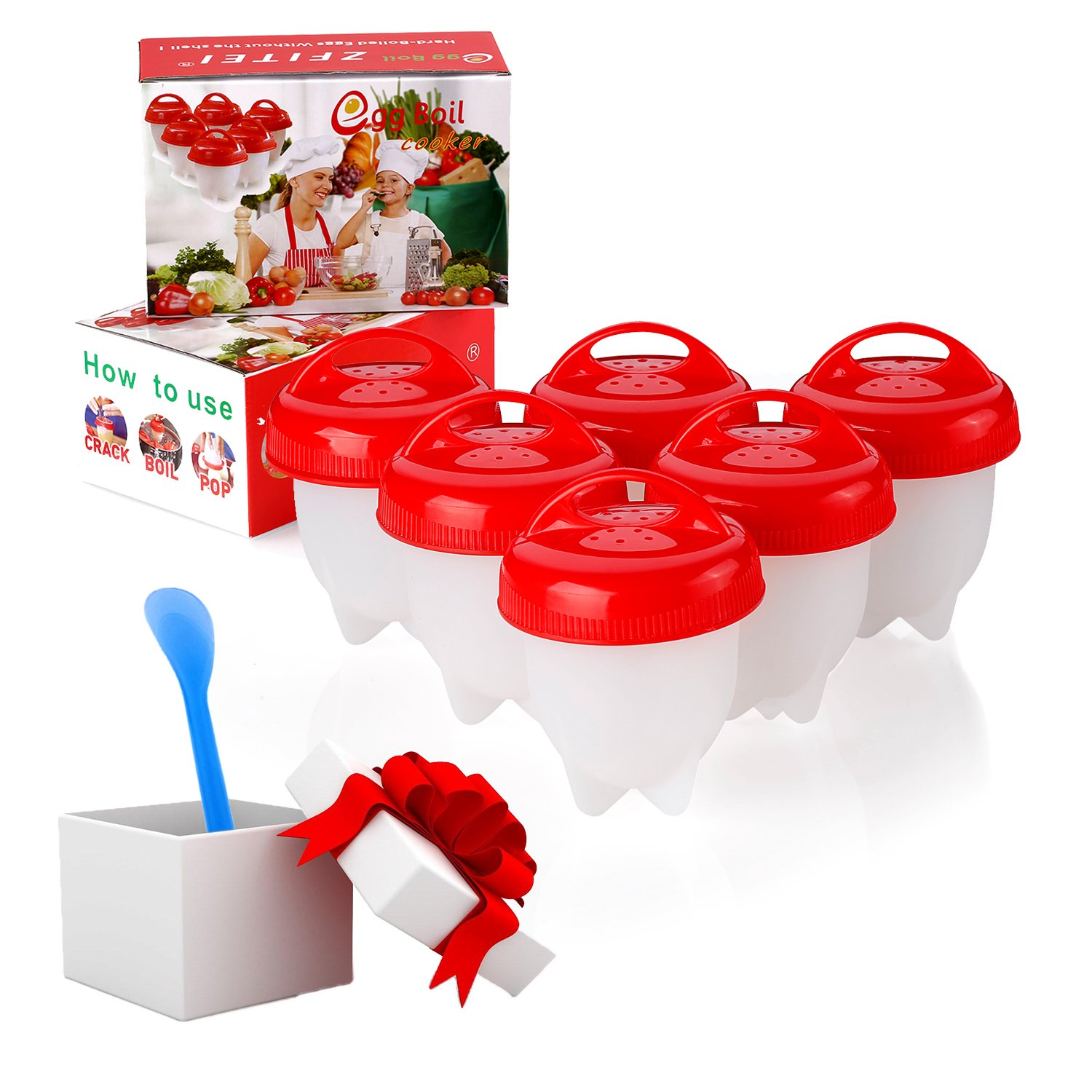 Upgrade Version egg cooker 6pack, ⚠☛Add cooker+HOLDER to cart, buy together=Get FREE holder❤ Boiled Eggs No shell,hard&Soft Maker,NO-BPA,Non Stick Silicon,by ZFITEI
