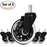 Cusfull 5pcs Office Chair Caster Wheels Replacement Quiet Rolling & Safe for Any Floor Standard Size (Black)