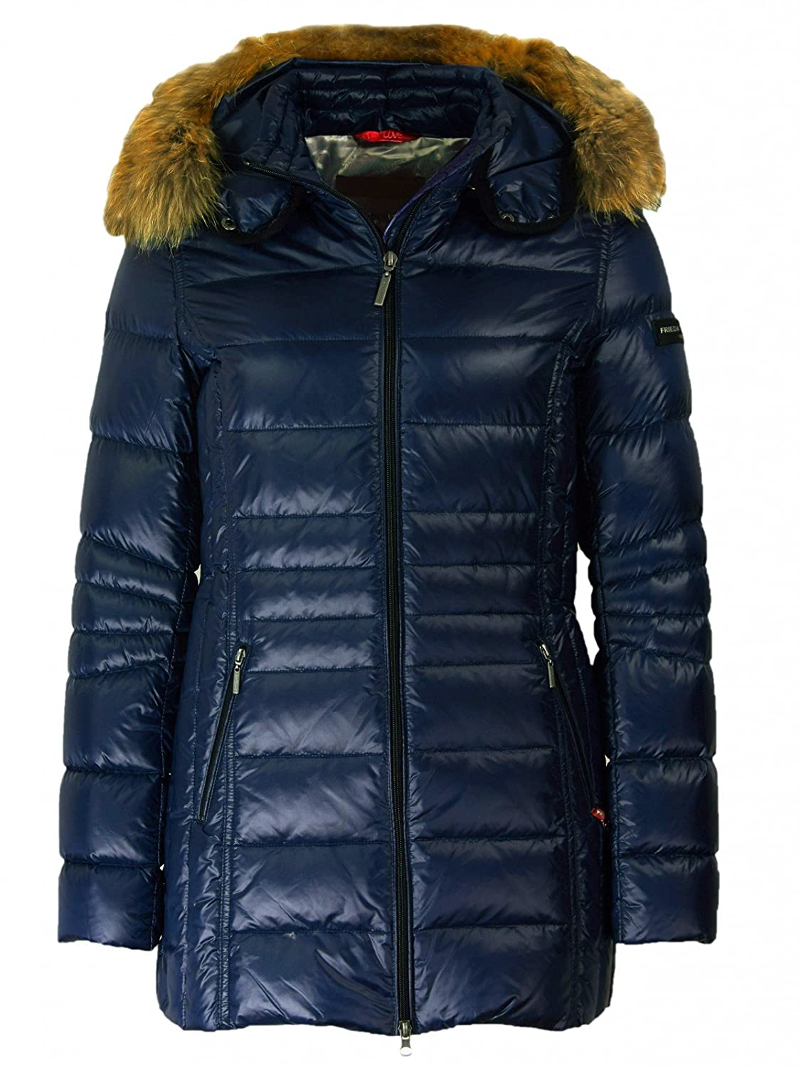 Frieda & Freddies Damen Lange Daunenjacke mit Fellbesatz in