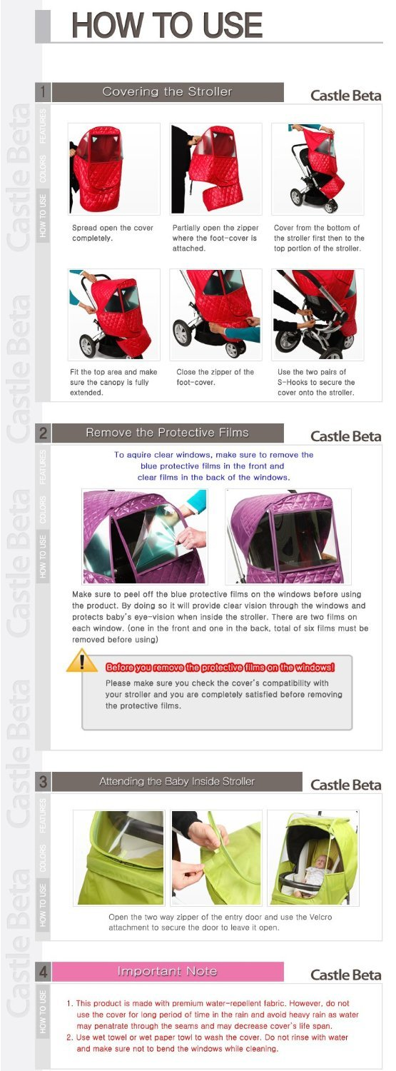 Manito Castle Beta Stroller Weather Shield (Navy) by Manito (Image #6)