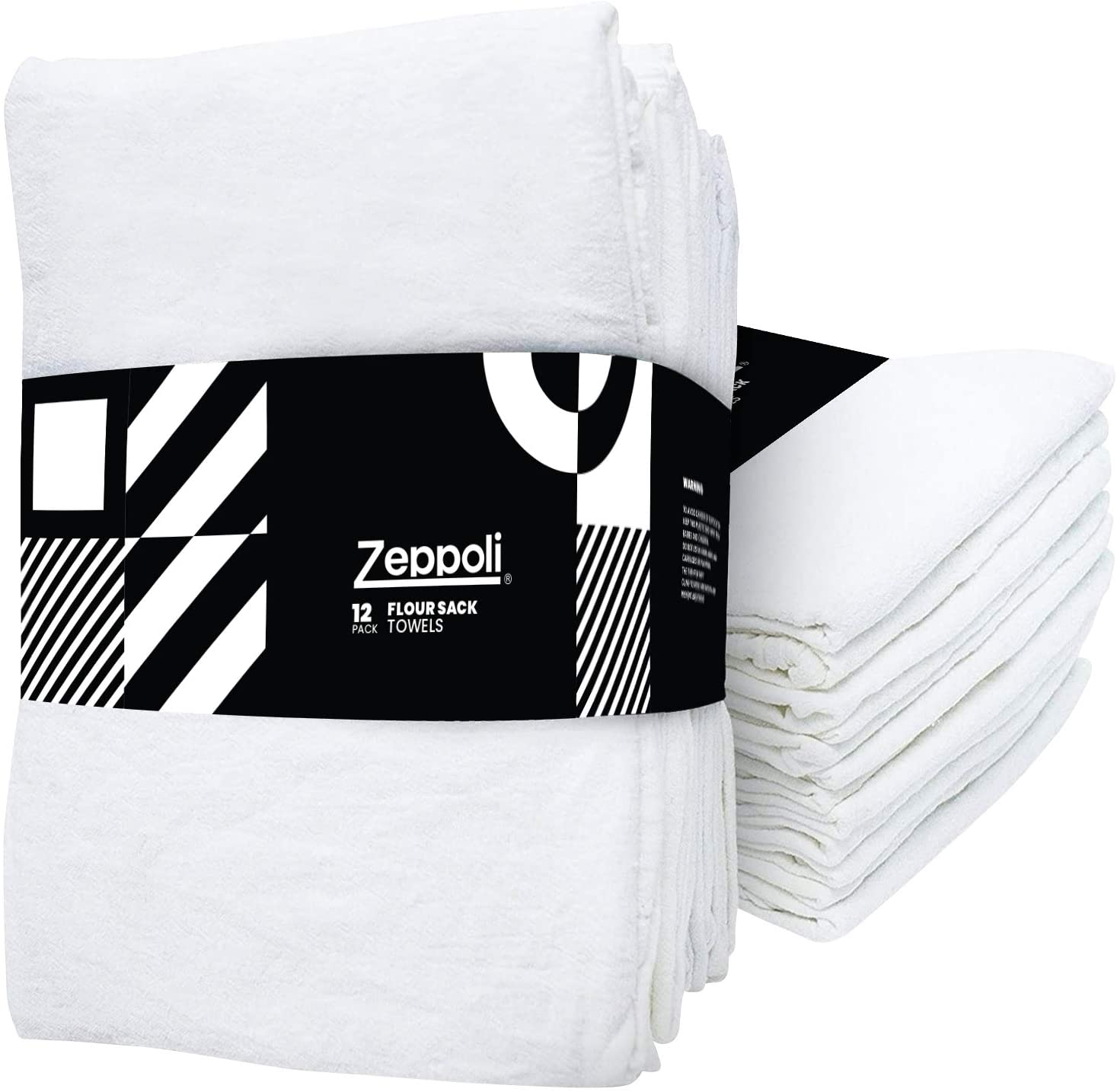 "Zeppoli 12-Pack Flour Sack Towels - 31"" x 31"" Kitchen Towels - Absorbent White Dish Towels - 100% Ring Spun Cotton Bar Towels: Home & Kitchen"
