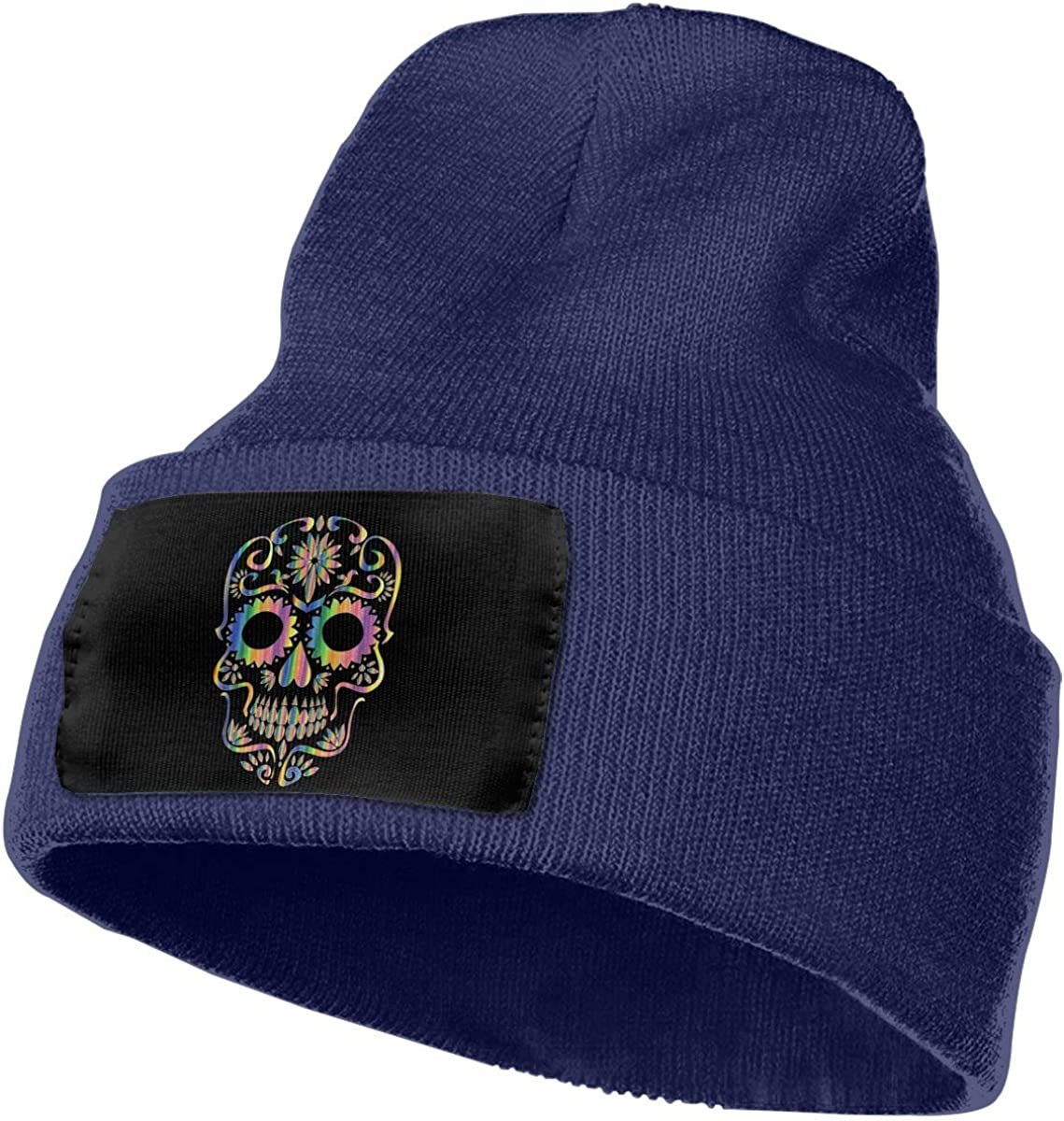Unisex 100/% Acrylic Knitting Hat Cap Psychedelic Sugar Skull Silhouette Original Ski Cap