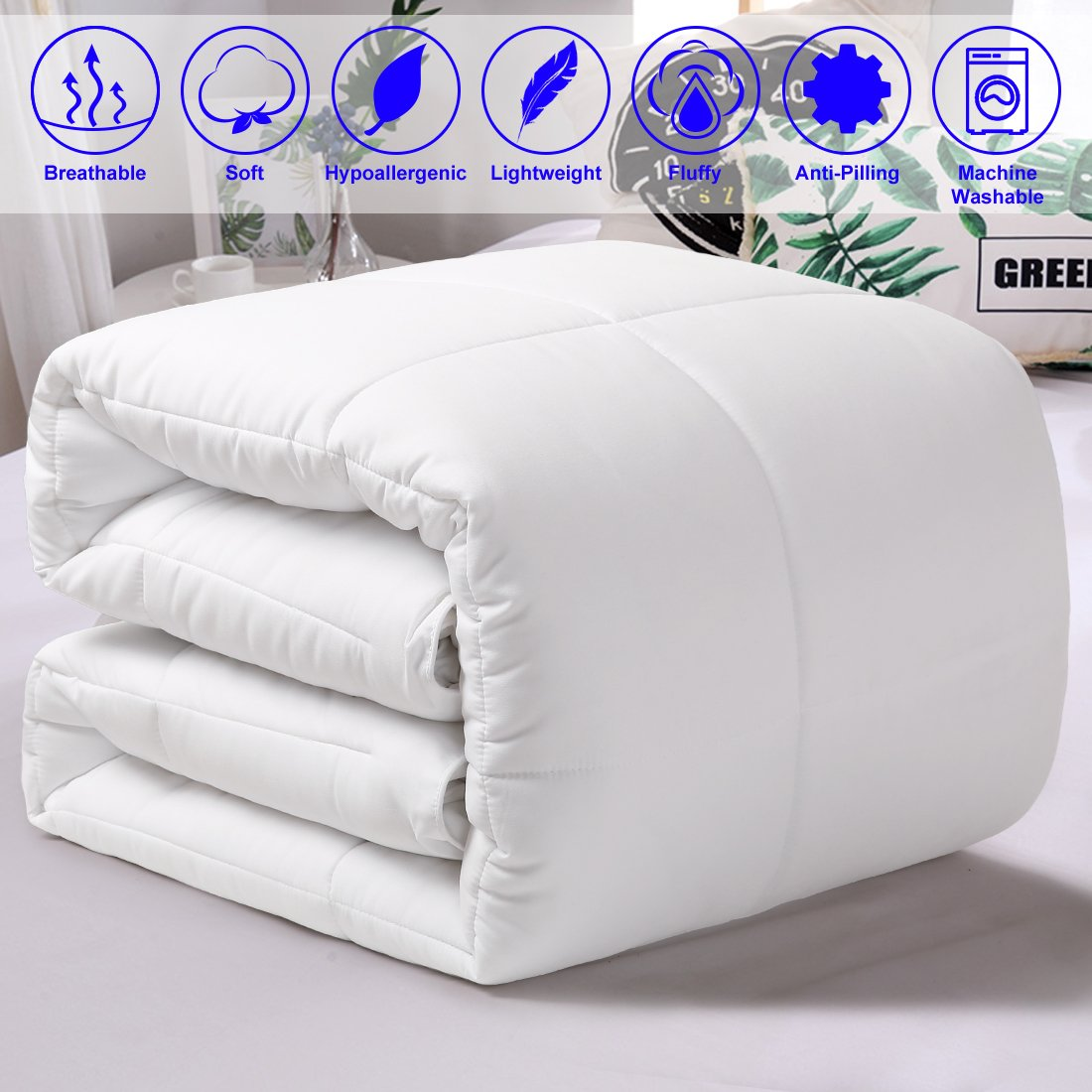 All Season Queen Goose Down Alternative Quilted Comforter with Corner Tabs - Hypoallergenic -Double Plush Fabric -Super Microfiber Fill -Machine Washable - Duvet Insert & Stand-Alone Comforter - White by Balichun (Image #2)